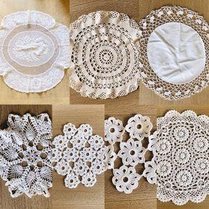 Crochet Doilies Vintage White Lot of 7, Farm House